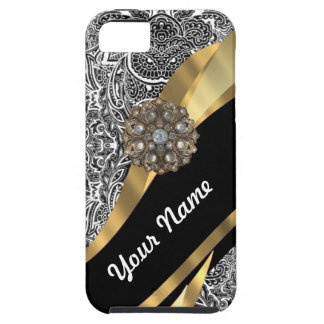 Black & white floral damask pattern iPhone 5 cover