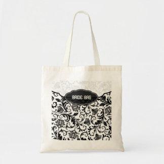 Black & White Floral Damask Pattern-Monogram