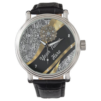 Black & white floral damask pattern watch