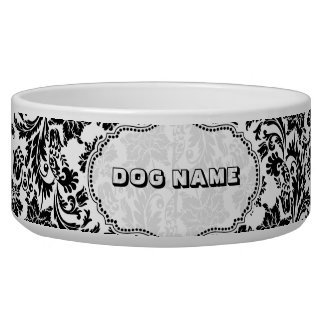 Black & White Floral Damasks 4-Monogramed Dog Bowls