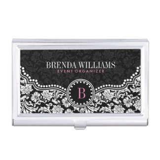 Black & White Floral Damasks Custom Monogram Business Card Holder