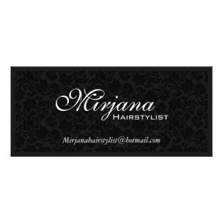 Black & White Floral Damasks Hairstylist Services Rack Card