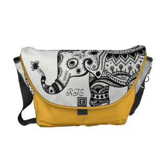 Black & White Floral Elephant Monogramed Courier Bags