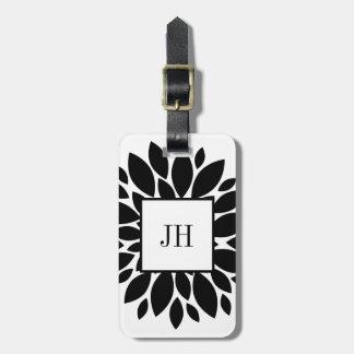 Black White Floral Flower Petals Custom Monogram Luggage Tag