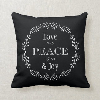 Black White Floral Holiday Peace Typography Throw Pillow