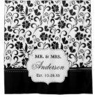 Black White Floral Just Married Wedding Date