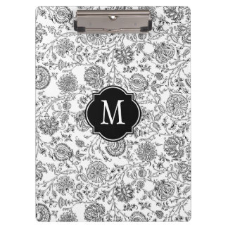 Black & White Floral Monogram Clipboard