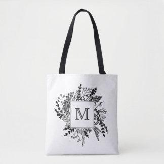 Black White Floral Monogram Tote Bag