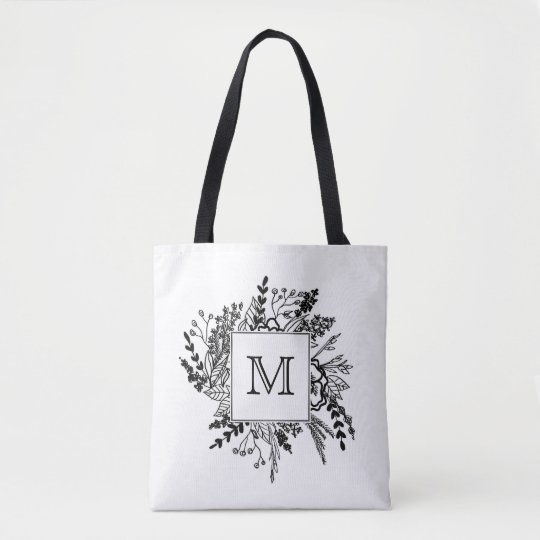 Black White Floral Monogram Tote Bag