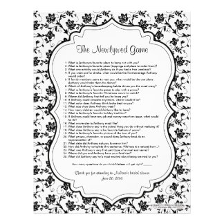 Black White Floral Newlywed Bridal Shower Game Customized Letterhead