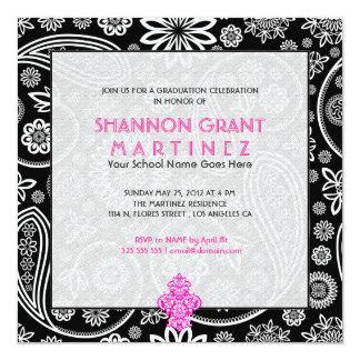 Black & White Floral Paisley -Elegant Grad Invite