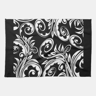 Black white floral paisley pattern kitchen towel