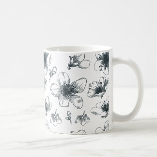 Black & White Floral Pattern Coffee Mug