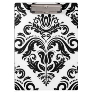 Black White Floral Pattern Design Clipboard