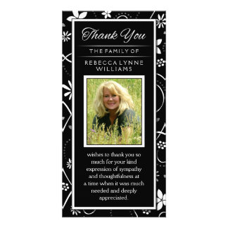 Black & White Floral Photo Memorial Thank You Card Customized Photo Card