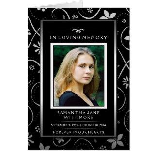 Black & White Floral Photo Thank You Sympathy Card