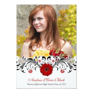 Black White Floral Red Daisy Graduation Invitation