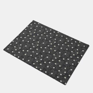 Black white floral stripes pattern doormat