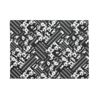 Black white floral stripes pattern doormat