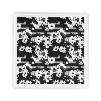 Black white floral stripes pattern perfume tray