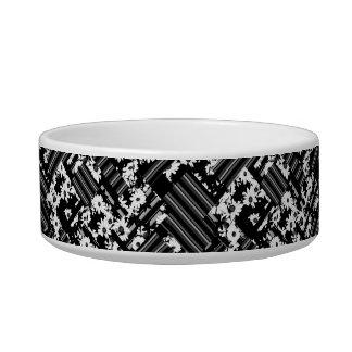 Black white floral stripes pattern pet water bowl
