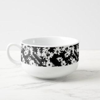 Black white floral stripes pattern soup bowl with handle
