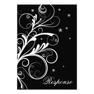 Black White Floral Swirl Wedding Response RSVP Invitation