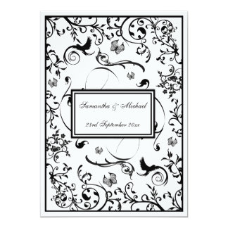 Black & White Floral Swirls Wedding Invitataion Card
