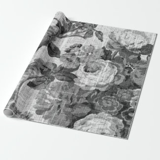 Black & White Floral Toile Fabric No.4 Wrapping Paper