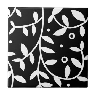 Black & White Floral Vines Contemporary Tile