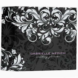 Black & White Floral Vintage Damasks 2 Vinyl Binder