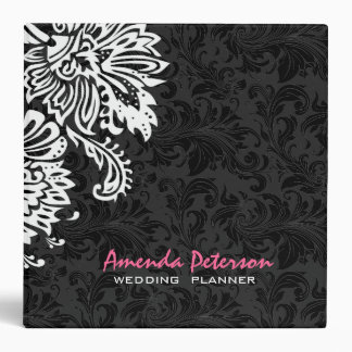 Black & White Floral Vintage Damasks 2 Vinyl Binders