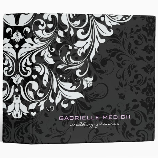 Black & White Floral Vintage Damasks Vinyl Binders