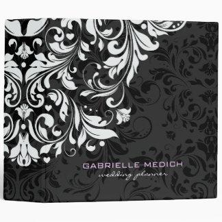 Black White Floral Vintage Damasks Vinyl Binders