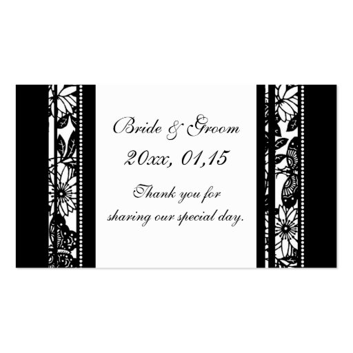 Black & White Floral Wedding Favor Tags Business Cards