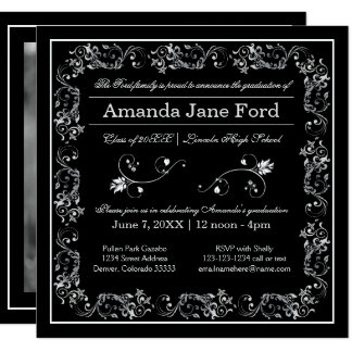 Black & White Flourish Frame - Graduation Announce Card