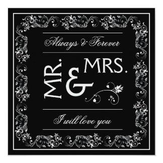 Black & White Flourish Frame - Wedding Invitation