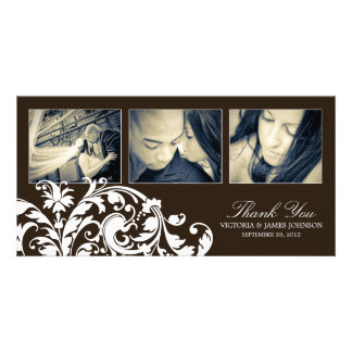 BLACK & WHITE  FLOURISH   WEDDING THANK YOU CARD CUSTOM PHOTO CARD