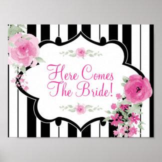 Black, White, flower Bridal Shower Poster