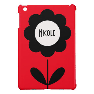 Black & White Flower on Bright Red Custom Name Cover For The iPad Mini