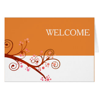 Black White Flowers Brown Branch Cute Welcome Card