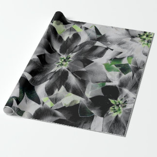 Black White Flowers Green Gray Minimal VIP Wrapping Paper
