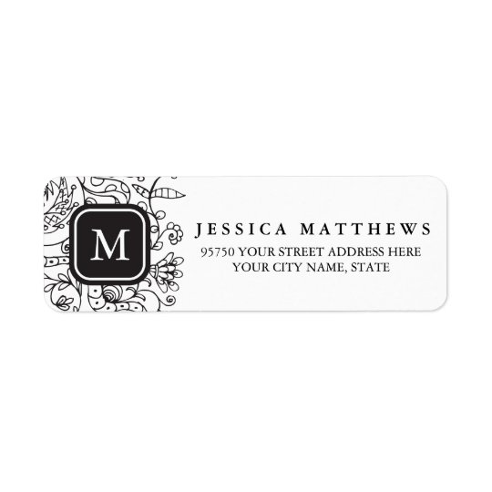 Black & White Flowers Personalized Monogram Label