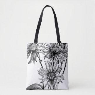 Black&White flowers Tote Bag