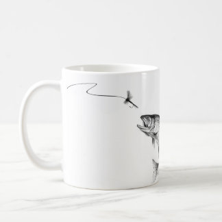 Black & White Fly Casting with Leaping Trout Coffee Mug
