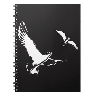 Black & White Flying Birds - Notebook