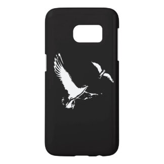Black & White Flying Birds - Phone case