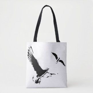 Black & White Flying Birds - Tote