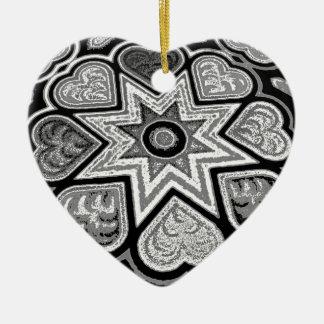 Black & White Folk Art Hearts Ornament