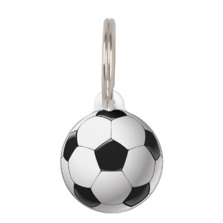 Black white Football soccer ball Pet ID Tag